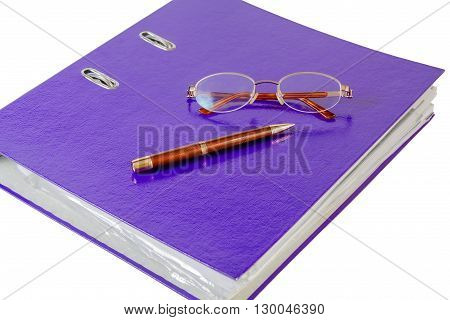 Purple folder with glasses and pen on white background