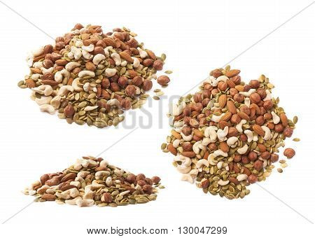 Pile of multiple nuts and seeds isolated over the white background, set of three different foreshortenings