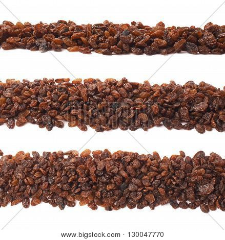 Line border made of multiple raisins, composition isolated over the white background, set of three different foreshortenings
