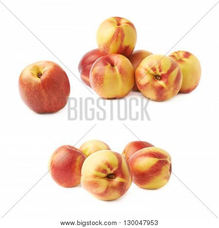 Pile of multiple ripe nectarines, composition isolated over the white background, set of two different foreshortenings