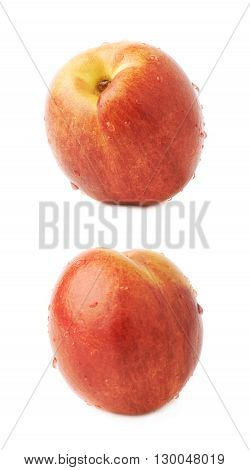 Single ripe nectarine covered with water drops, isolated over the white background, set of two different foreshortenings