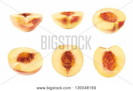 Cut open ripe nectarine half without pit, isolated over the white background, set of six different foreshortenings