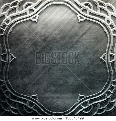 Silver metal plate with classic ornament. metal collection.  texture with metal carved pattern. Luxury metal design
