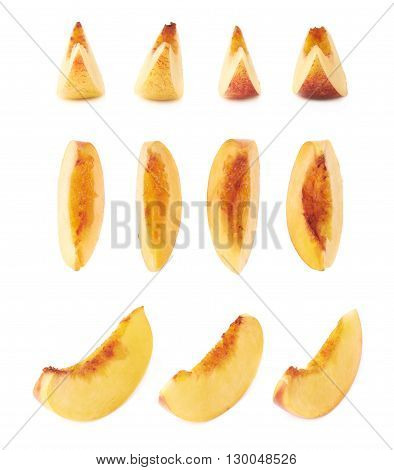 Slice of a nectarine fruit flesh isolated over the white background, set of multiple different foreshortenings