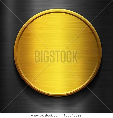 Round gold metal plate. Gold and silver metal. Metal background. Polished metal texture