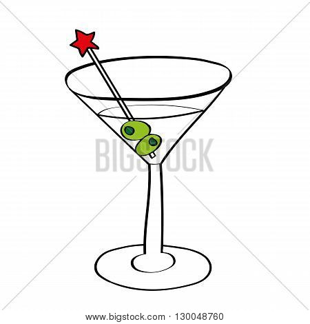 Vector illustration of a vodka martini in a cocktail glass with olives and a swizzle stick