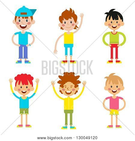 Set cute happy cartoon boys characters childhood young active lifestyle vector illustration. Cartoon boys character and set cartoon boys active lifestyle. Cartoon boys smiling, childhood friendship.
