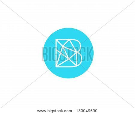 Abstract letter B logo design template. Structure simple line sign. contact, business, medicine, development, mobile app vector symbol icon