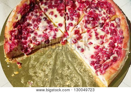 berry pie at the buffet with cut a piece