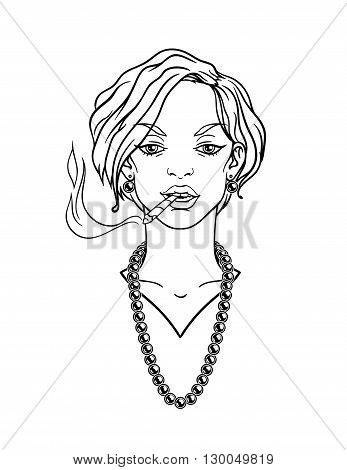 Stylish beautiful lady with cigarette. Vector illustration.
