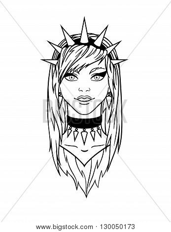 Stylish subcultural young girl with spiked bezel. Vector illustration.