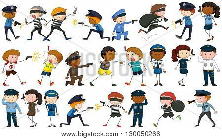 Policeman and criminal characters illustration