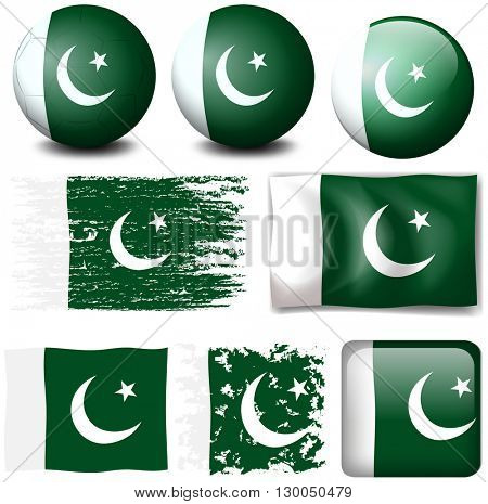 Pakistan flag on different objects illustration