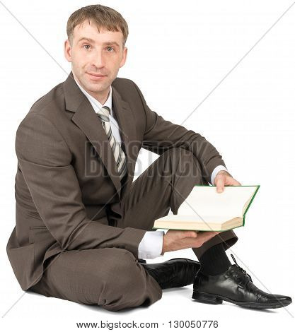 Man sitting with book isolated on white background