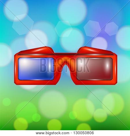 Red Glasses for Watching Movies Isolated on Summer Colorful Blurred Backround