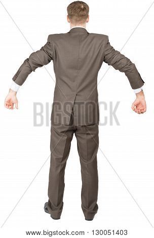 Businessman in suit ready to work isolated on white background, rear view