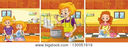 Girl and mom doing activities in the kitchen illustration
