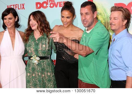 LOS ANGELES - MAY 16:  Catherine Bell, Kathryn Hahn, Paula Patton, Adam Sandler, David Spade at the The Do-Over Premiere Screening at the Regal 14 Theaters on May 16, 2016 in Los Angeles, CA