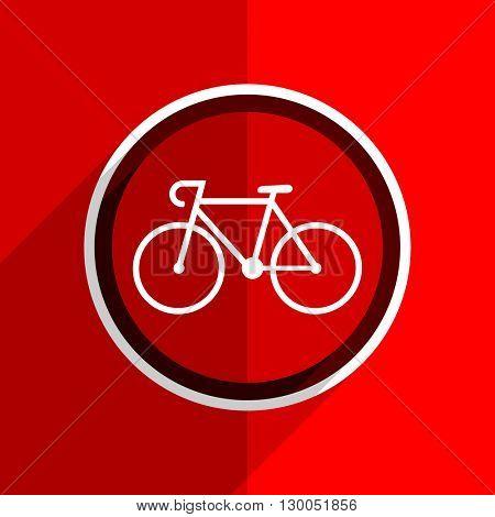 red flat design bicycle web modern icon
