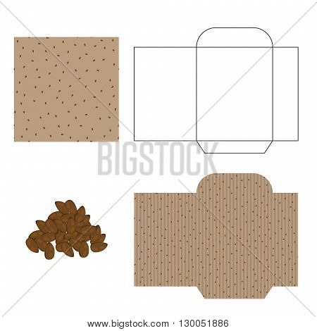 Flax seeds packaging design kit. Recycled paper pack template. Pile of flax seeds and pattern for wrap.
