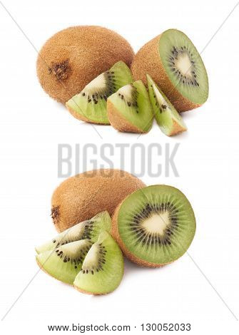 Sliced and cut kiwifruit chinese gooseberry kiwi composition isolated over the white background, set of two different foreshortenings