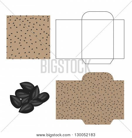 Sunflower  seeds packaging design kit. Recycled paper pack template. Pile of sunflower  seeds and pattern for wrap.