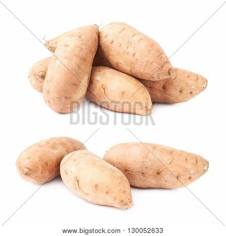 Pile of sweet potato or Ipomoea batatas plants isolated over the white background, set of two different foreshortenings