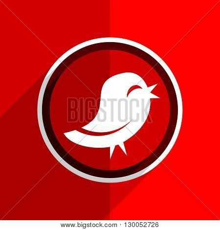 red flat design twitter web modern icon