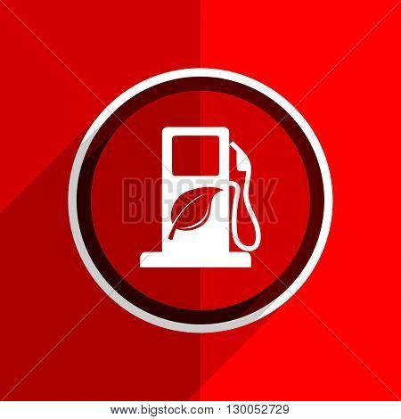 red flat design biofuel web modern icon