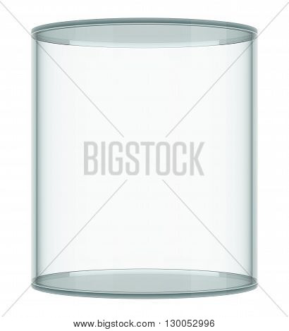 Empty glass showcase on white background. 3D rendering
