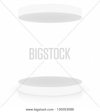 Empty white podium with cover, place for presentation product placement, white background. 3D rendering