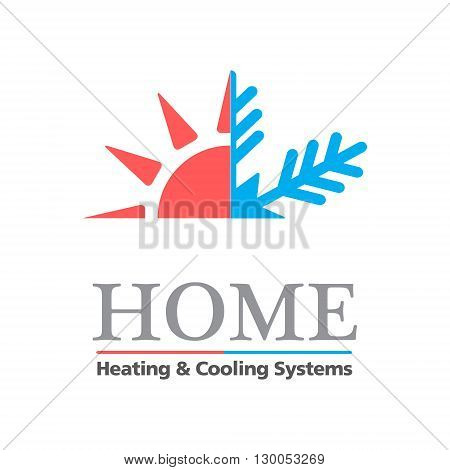 Heating & Cooling systems business icon vector template. Vector illustration symbolizing home cooling & heating climate control system. Typography proposal. Sample text. Editable