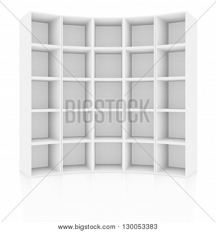 Empty white cabinet, isolated on white background with reflections. 3D rendering