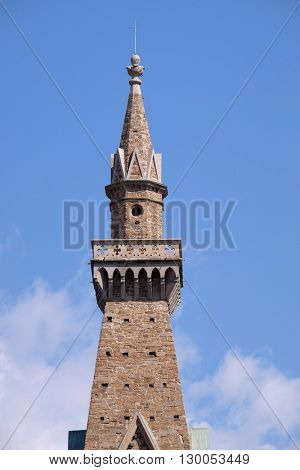 FLORENCE, ITALY - JUNE 05: The bell tower of Basilica of Santa Croce (Basilica of the Holy Cross) - famous Franciscan church in Florence, Italy, on June 05, 2015