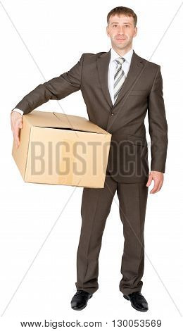 Shop assistant brings parcel, isolated on white background