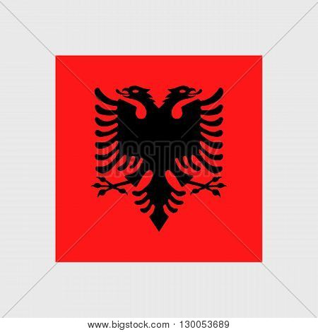 Set of vector icons with Albania flag