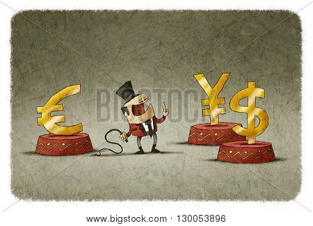 tamer controlling euro dollar and yen symbols with whip