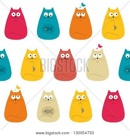 Pretty Cute Colorful Cats Textile Seamless Pattern