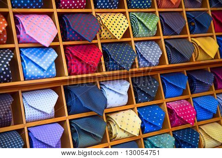 Colorful tie collection in the men\'s shop