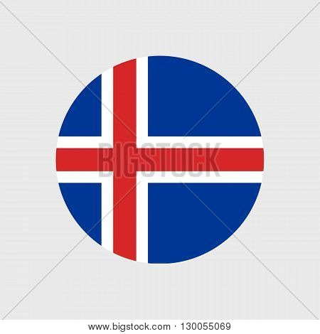 Set of vector icons with Iceland flag