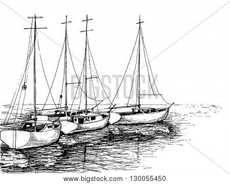 Boats on sea artistic drawing
