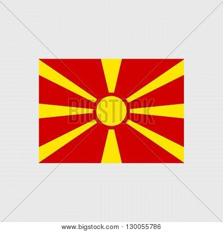 Set of vector icons with Macedonia flag