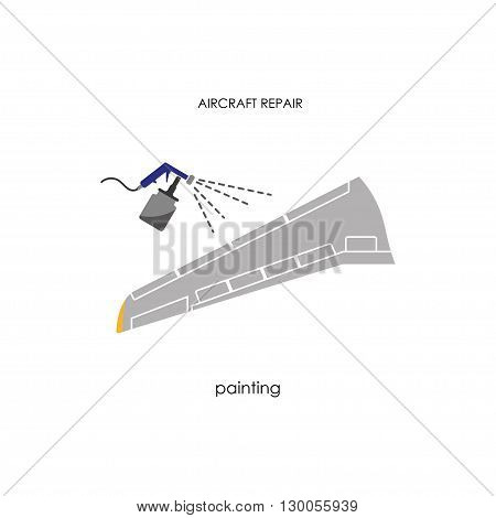 Aircraft wing painting. Repair and maintenance aircraft. Vector illustration