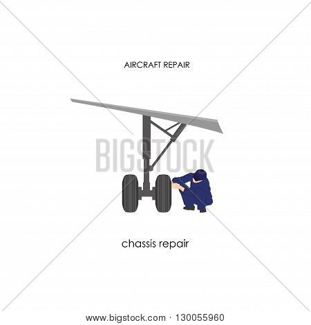 Engineer reconditioning chassis. Repair and maintenance aircraft. Vector illustration