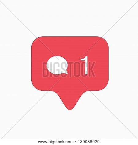 vector modern comment pink icon isolated on white background.