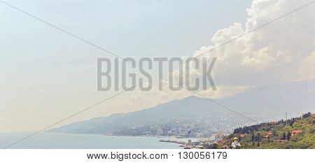 Crimea, Russia - August 17, 2014: black sea coast in Crimea