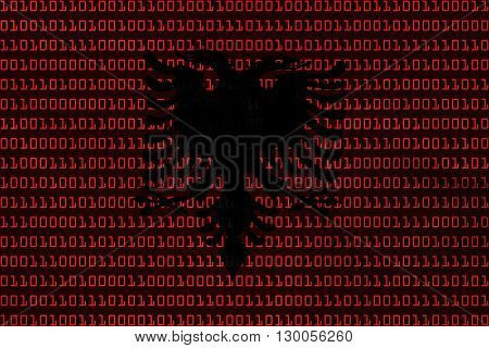 Albanian Technology Concept - Flag Of Albania In Binary Code - 3D Illustration