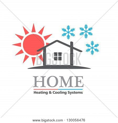 Heating & Cooling systems business icon vector template. Vector illustration symbolizing home cooling & heating climate control system. Typography proposal, sample text. Editable