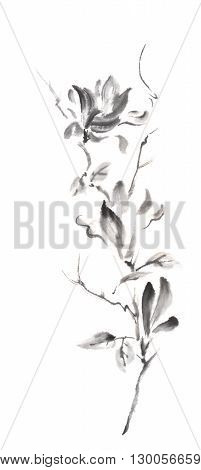 Magnolia scroll Japanese style original sumi-e ink painting.  Great for greeting cards or texture design.