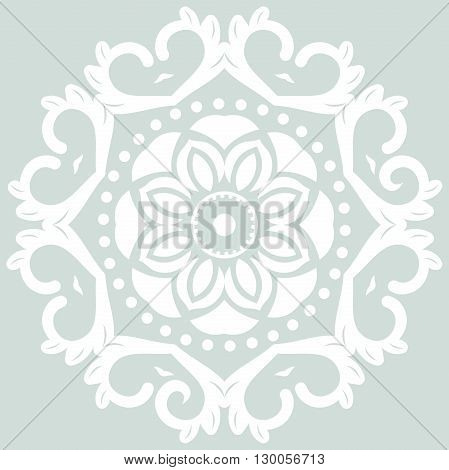Oriental vector round pattern with arabesques and floral elements. Traditional classic ornament